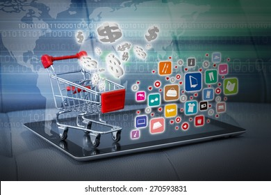Shopping cart with fashion icon on digital tablet
