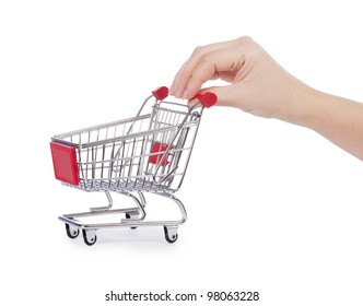 The shopping cart in female hands isolated