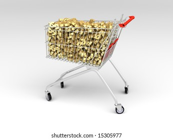 shopping cart filled with sign of american dollar