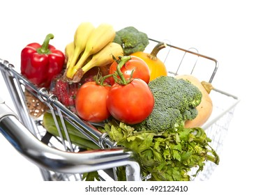 Shopping cart with food.