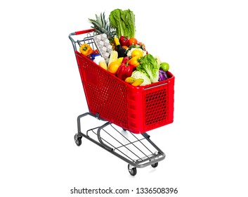 shopping cart with food fruits and legumes