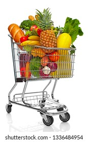 shopping cart with fruits and legumes