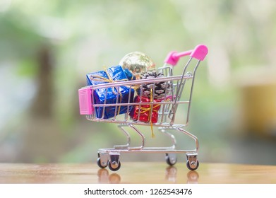 A shopping cart full of Christmas decoration