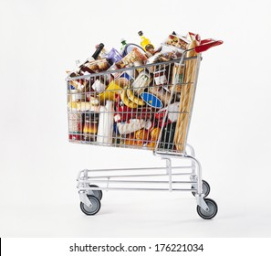 Shopping cart full of food