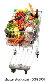 A shopping cart full of groceries on a white background