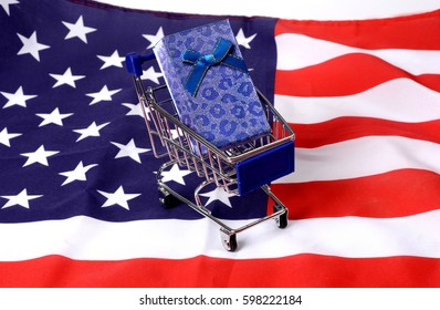 Shopping Cart with Gift box on United States Flag - Free Delivery