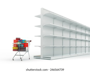 An  shopping cart with gifts boxes and end  empty shop shelves isolated on a white background