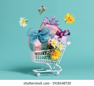 Shopping cart with gifts and flowers