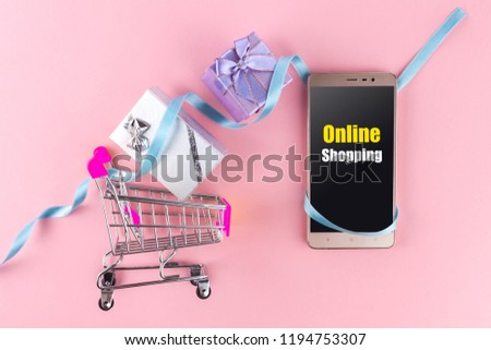 5a501f2c4f5 Shopping Cart Gifts On Pink Background Stock Photo (Edit Now ...