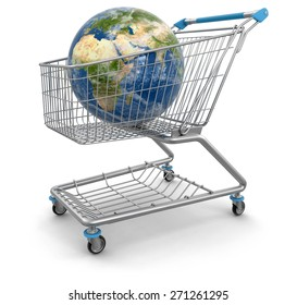 Shopping Cart with Globe (clipping path included) Elements of this image furnished by NASA
