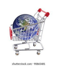 Shopping cart with globe isolated on white