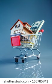 shopping cart and house on a blue background