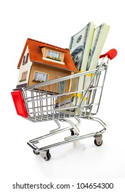 shopping cart and house on a white background