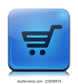 Shopping cart icon. Glossy blue button.