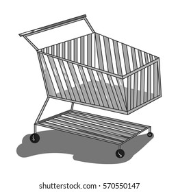 Shopping cart icon in monochrome style isolated on white background. Supermarket symbol stock bitmap, raster illustration.