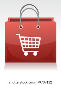 Shopping cart illustration design with a shopping cart design on it