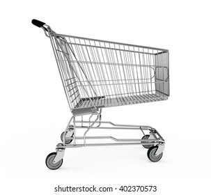 Shopping cart isolated on white background. 3D Rendering, 3D Illustration.