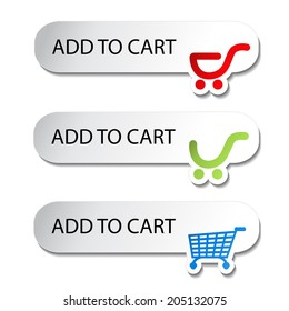 shopping cart item - add buttons, symbol of shopping trolley
