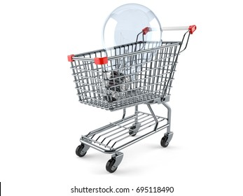 Shopping cart with Light bulb isolated on white background. 3d illustration