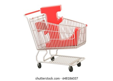 Shopping cart with litecoin symbol, 3D rendering isolated on white background
