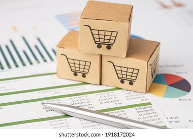 Shopping cart logo at box on graph background. Banking Account, Investment Analytic research data economy, trading, Business import export transportation online company concept.