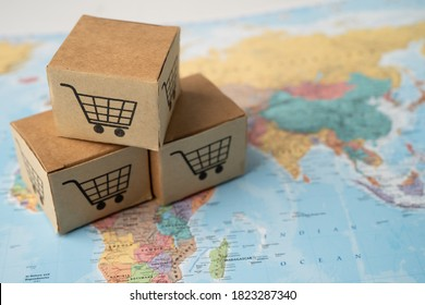 Shopping cart logo on box on world globe map background. Banking Account, Investment Analytic research data economy, trading, Business import export transportation online company concept.