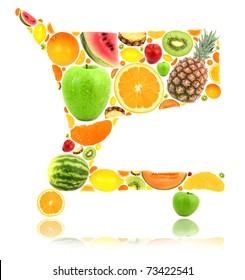 Shopping cart made of fruit isolated on white