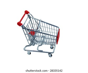 Shopping cart made of metal used for carrying groceries-Path included