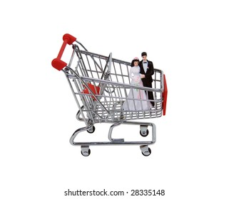 Shopping cart made of metal used for carrying groceries holding a bride and a groom-Path included