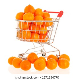 Shopping cart with mandarins isolated over white background