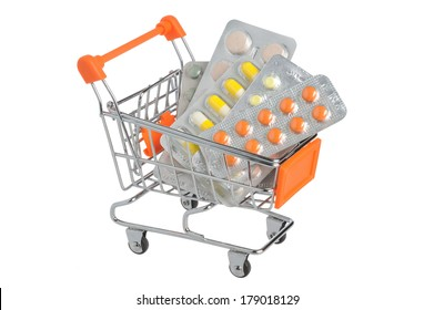 Shopping cart with medical supplies isolated on white background