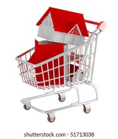 Shopping cart. Model house.