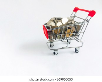 Shopping cart with money White background