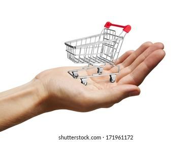 Shopping Cart on Hand, isolated on white background