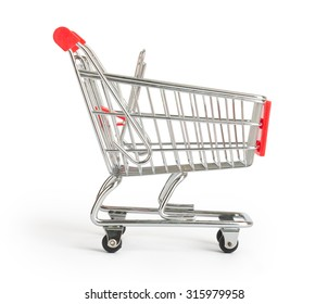 Shopping cart on isolated white background, close up view