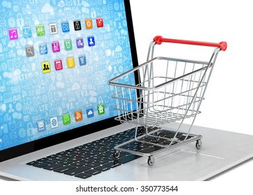 Shopping cart on laptop.