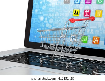 Shopping cart on laptop. 3d rendering.