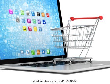 Shopping cart on laptop. 3d rendering.