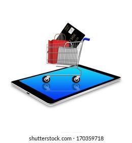 Shopping cart on tablet ,tablet  illustration