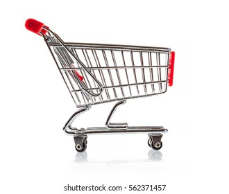 Shopping cart on the white