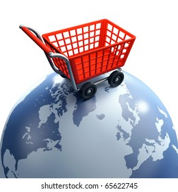 Shopping cart over the world, global market concept