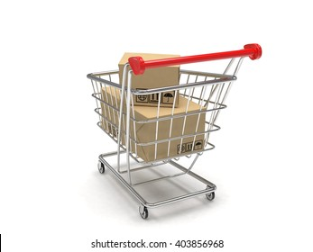 Shopping cart with parcel. 3d rendering.