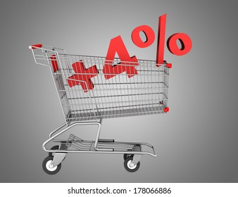 shopping cart with plus 4 percent sign isolated on gray background