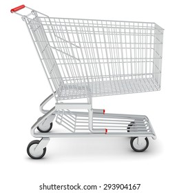 Shopping cart for purchase on isolated white background
