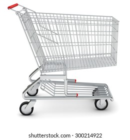 Shopping cart for purchase on isolated white background, side view
