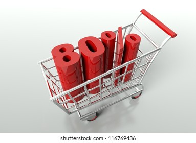 Shopping cart and red eighty percent discount, sale concept