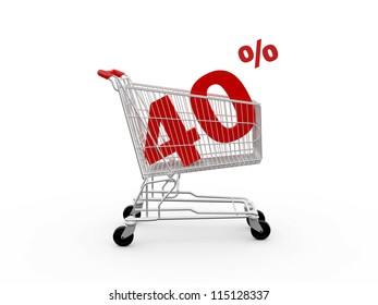 Shopping cart and red forty percentage discount, isolated on white background.