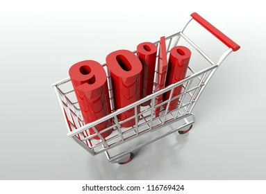 Shopping cart and red ninety percent discount, sale concept