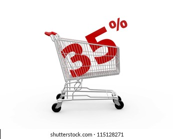 Shopping cart and red thirty five percentage discount, isolated on white background.