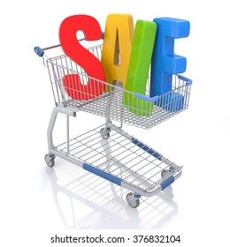 Shopping Cart with SALE text. Isolated On White